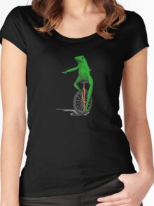 frog unicycle funny Women's Fitted Scoop T-Shirt