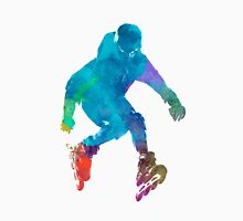 Man roller skater inline in watercolor Unisex T-Shirt