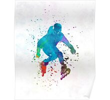 Man roller skater inline in watercolor Poster
