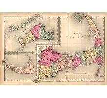 Cape Cod, Martha's Vineyard & Nantucket Map (1871) Photographic Print