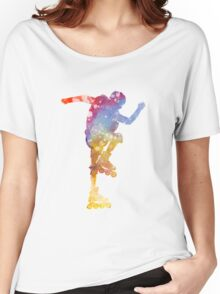 Man roller skater inline 02 in watercolor Women's Relaxed Fit T-Shirt