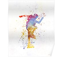 Man roller skater inline 02 in watercolor Poster