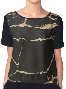 Marble - black with gold streaks Chiffon Top