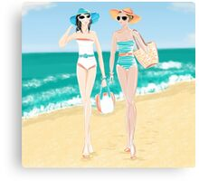 pinup girls at the beach Canvas Print