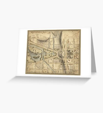Vintage Washington D.C. Capitol Hill Map (1815) Greeting Card