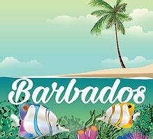 Barbados underwater travel poster by Nick  Greenaway