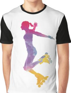 Woman in roller skates 03 in watercolor Graphic T-Shirt