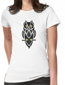 Tribal Owl with Golden Eyes Womens Fitted T-Shirt