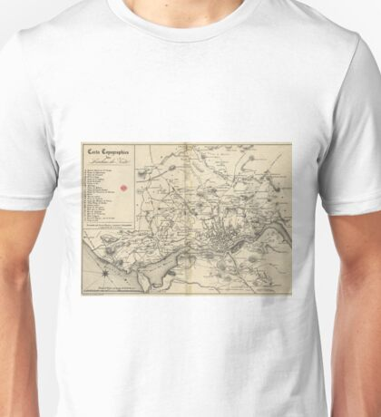 Vintage Map of Porto Portugal (1835) Unisex T-Shirt