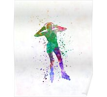 Woman in roller skates 04 in watercolor Poster