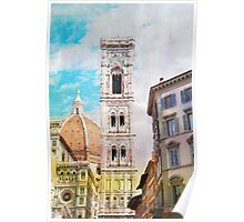 Florence watercolor painting Poster