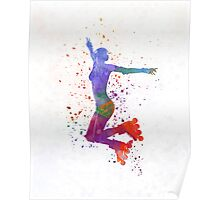 Woman in roller skates 05 in watercolor Poster
