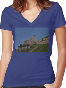 Rhine Castle And Vineyards Women's Fitted V-Neck T-Shirt