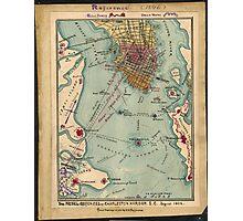 Vintage Charleston SC Civil War Map (1865) Photographic Print