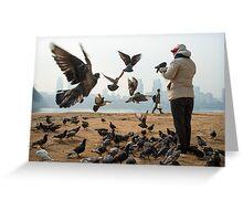 Feeding Pigeons in Seoul Greeting Card