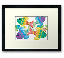 Colorful Fish on a White Background Framed Print