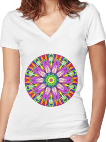 Colourful Flower Mandala Women's Fitted V-Neck T-Shirt