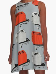 Toaster (red & grey) A-Line Dress