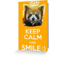Keep Calm And Smile - Red Panda (White version) Greeting Card