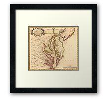 Vintage Map of The Chesapeake Bay (1719) Framed Print