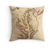 Vintage Map of The Chesapeake Bay (1719) Throw Pillow