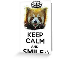 Keep Calm And Smile - Red Panda (Black version) Greeting Card