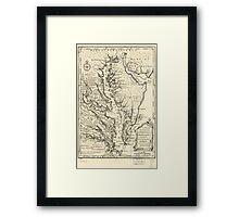 Vintage Map of The Chesapeake Bay (1752) Framed Print