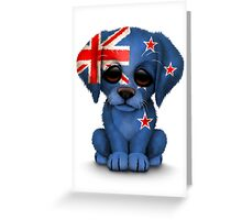 Cute Patriotic New Zealand Flag Puppy Dog Greeting Card