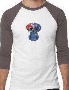 Cute Patriotic New Zealand Flag Puppy Dog Men's Baseball ¾ T-Shirt