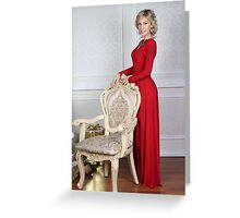old woman in a red dress Greeting Card