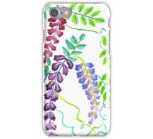 Hand-Painted Watercolor Japanese Wisteria Flowers iPhone Case/Skin