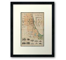 Vintage Map of Chicago Illinois (1889) Framed Print