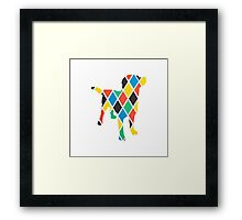 Coloured Diamond Dog Framed Print