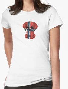 Cute Patriotic Norwegian Flag Puppy Dog Womens Fitted T-Shirt