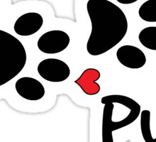 DOG PAWS LOVE PUG DOG PAW I LOVE MY DOG PET PETS PUPPY STICKER STICKERS DECAL DECALS Sticker