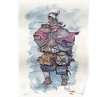 An intrepid explorer with owl and goldfish Poster