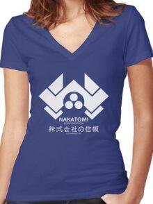 NAKATOMI PLAZA - DIE HARD BRUCE WILLIS (WHITE) Women's Fitted V-Neck T-Shirt