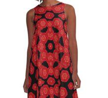 Stylized Floral Check  A-Line Dress