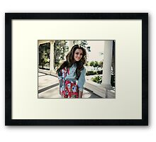 woman with perfect fluffy curled blonde hairs amazing smile  Framed Print