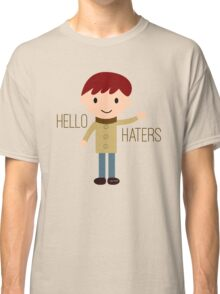 Cool Funny Vintage Cartoon Hipster Design - Hello Haters Classic T-Shirt