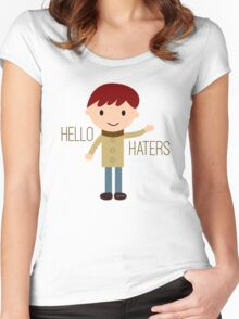 Cool Funny Vintage Cartoon Hipster Design - Hello Haters Women's Fitted Scoop T-Shirt