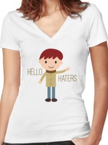 Cool Funny Vintage Cartoon Hipster Design - Hello Haters Women's Fitted V-Neck T-Shirt
