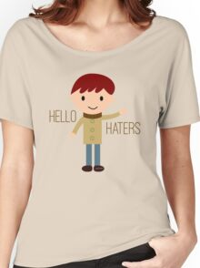 Cool Funny Vintage Cartoon Hipster Design - Hello Haters Women's Relaxed Fit T-Shirt