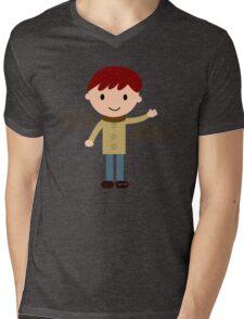 Cool Funny Vintage Cartoon Hipster Design - Hello Haters Mens V-Neck T-Shirt