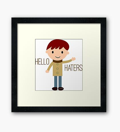 Cool Funny Vintage Cartoon Hipster Design - Hello Haters Framed Print