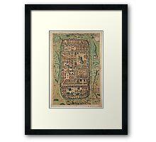 Vintage Map of Jerusalem Israel (1584) Framed Print