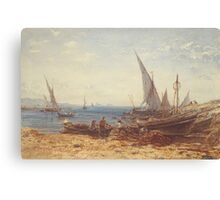 Boats and Ships on the beach Canvas Print