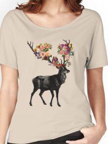 Spring Itself Deer Floral Women's Relaxed Fit T-Shirt