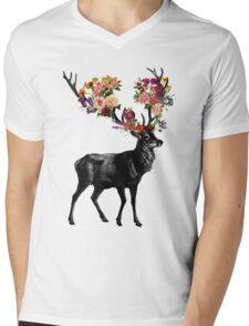 Spring Itself Deer Floral Mens V-Neck T-Shirt