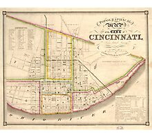 Vintage Map of Cincinnati Ohio (1841) Photographic Print